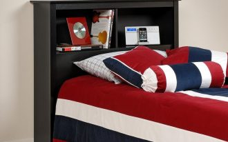 awesome red white blue bedding idea with pillows and long pillow and freestanding wooden headboard for storage