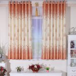 awesome tomatoes color curtain design to cover small glass window with white sheer curtain and white metal rod above white storage