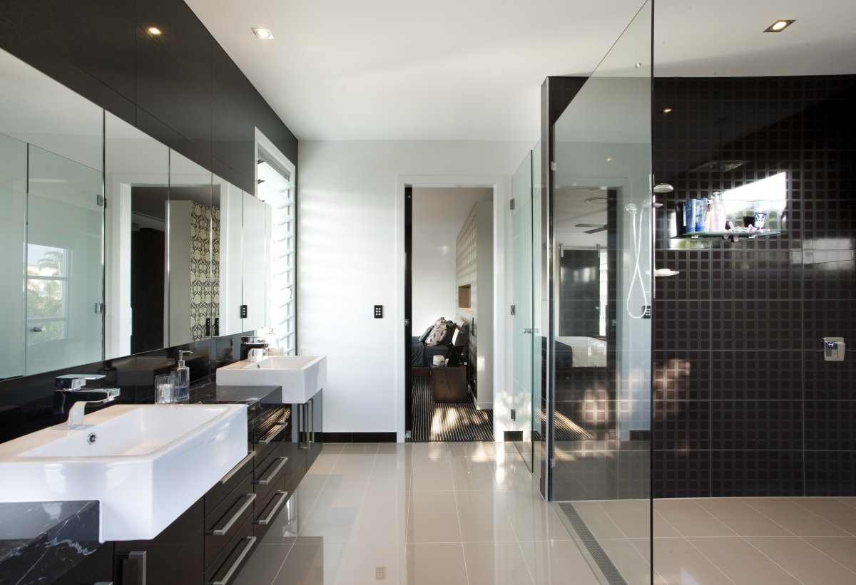 Luxury modern bathroom vanities - Awsome Modern Bathroom Design With Small Tile Walk In Shower With Transparent Door And Floating Luxurious