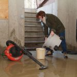 basement flooding solutions in house with pump and buckets