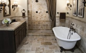 bathrooms remodeling with bath tub plus chic bathroom vanity units with sink and mirror plus wall scones and pictures plus shower room and tile floor and wall