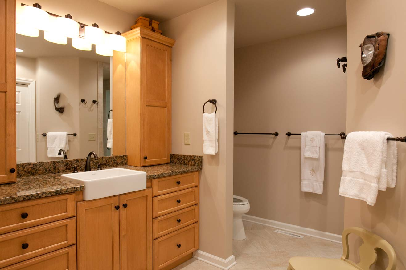Bathrooms Remodeling With Wooden Bathroom Vanity Units Plus Sink And Large Mirror Chair