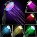 beautiful lighting head showers in various colors that indicate different water temperature