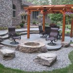 Beautiful Patio With Black Wood Finishing Furniture And Underground Stones Fire Pit