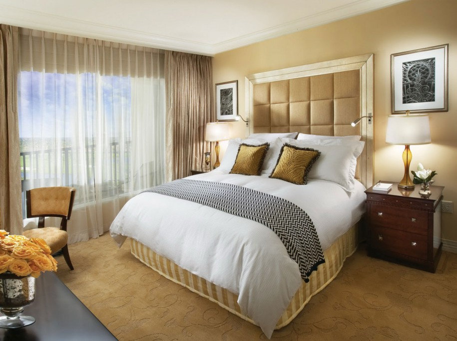 beige bedroom ideas with divan bed and large headboard and wooden  nightstands with table lamps and. Discover Amusing and Enjoyable Atmospheres to Your Bedroom with