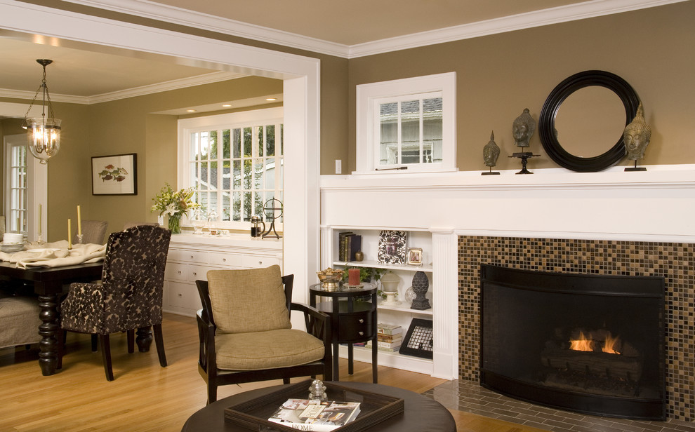 Beige Colored Chair With Dark Round Wood Table Floors Burned Fireplace In Modern Mantel