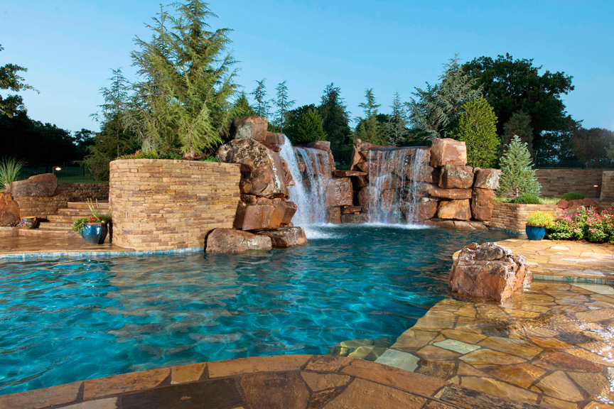 Best Backyard Pools In Curve Shape With Natural Stone Floor Combined With  Beautiful Fountain And Plant
