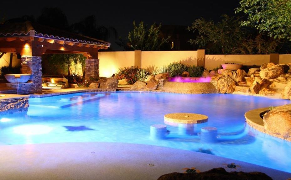 Awesome Small Backyard Pools : best backyard pools with amazing lighting and cool stone around the