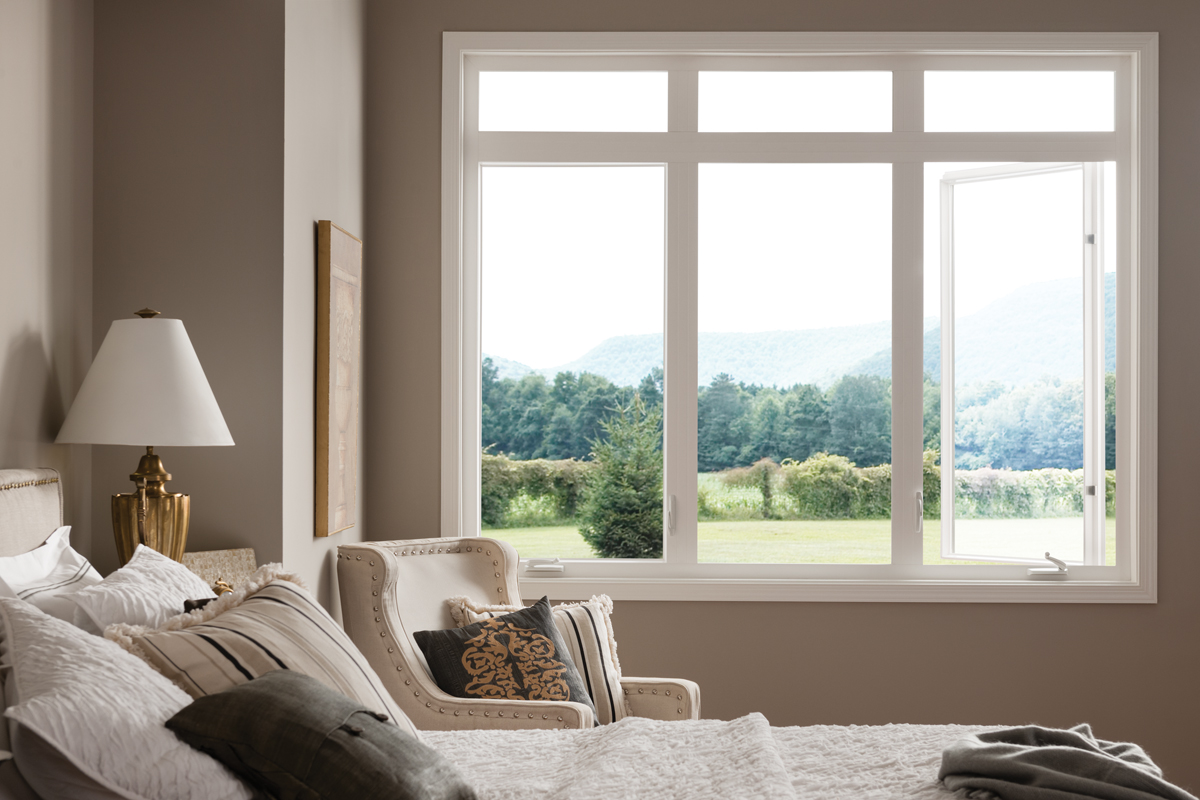 Best Energy Efficient Windows In Bedroom With Fixed Picture And Casement Window Plus Wood Frame