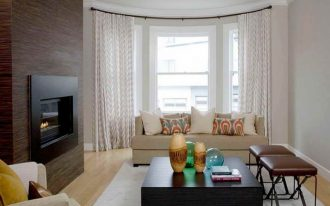 best window treatments nyc with curtain in bay window decorated for living room e=with beige sofa and wood table plus fireplace