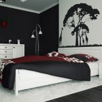black and white bedroom ideas with art wall plus panel bed and white fur rug plus night stand and sideboard plus vase and standing floor lamps
