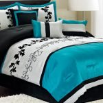 black and white bedroom ideas with black white blue bedding set plus nightstand with vase and table lamps plus white rug