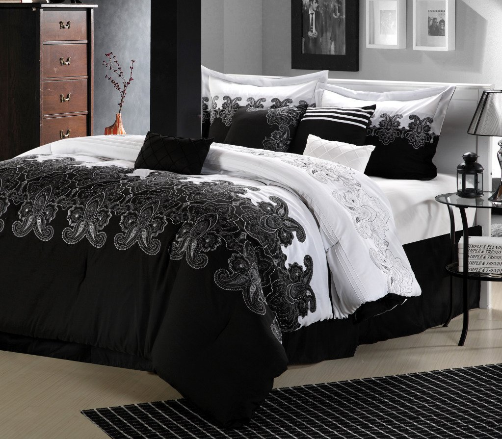 black and white bedroom ideas with divan bed and glass top night table