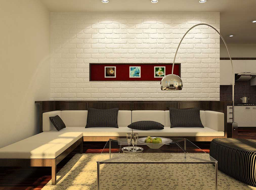 Black and white brick wall for artistic and astonishing - White walls living room ...