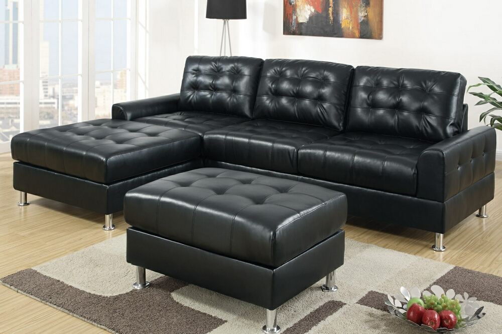 black leather modular sectional sofa for living room elegant and modern carpet artistical painting as wall