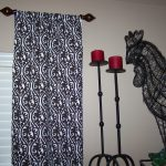 Black Metal Half Rod With Black And White Patterns Curtain A Pair Of Chandeliers