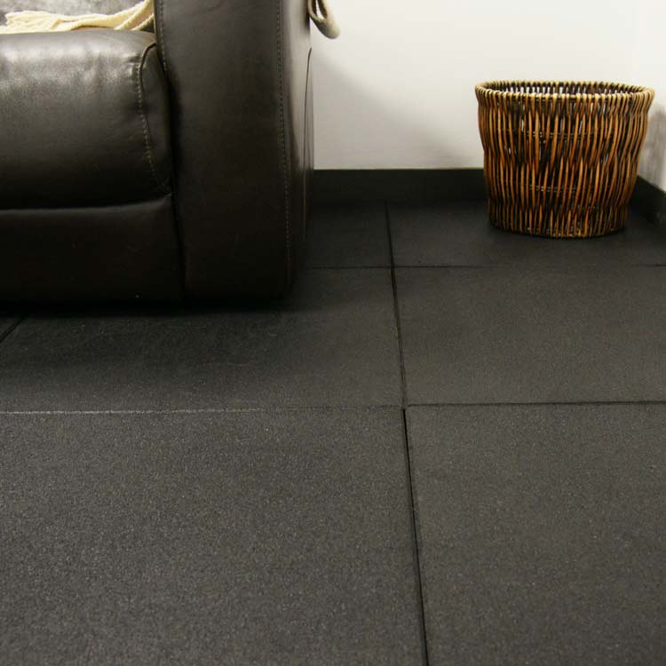 Black Rubber Floor Idea For Basement A Black Leather Sofa A Rattan Basket