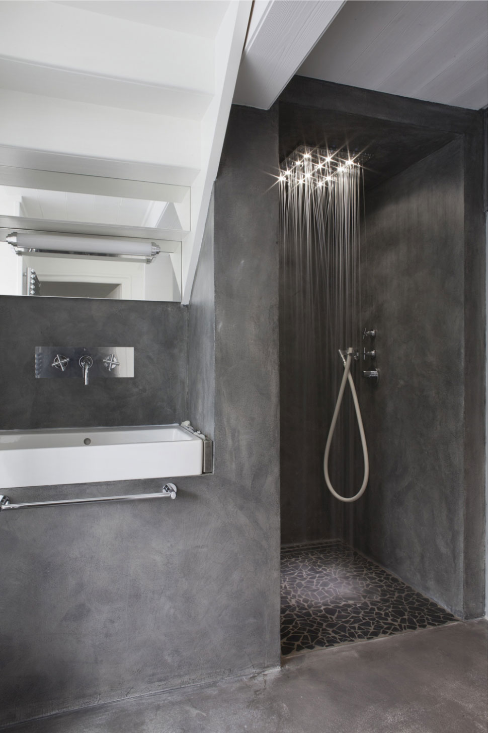 black rustic bathroom design with concrete wall and vanity with white modern sink and walk in - Cool Shower