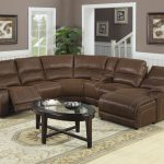 Brown Leather Sectional Sofa With Double Chaice Oval Glass Surface Table  Pale Colored Wood Floors
