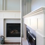 built-in craftsman mantel of fireplace in white color