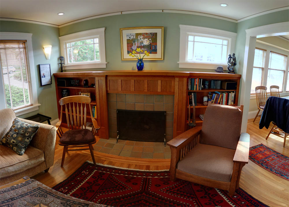 Built In Wood Fireplace Mantel With Beautiful Craftsman And Bookshelves A Chair Cozy Reading