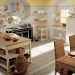 casual antique kitchen cabinet design with open storage and compact island design with rattan basket and unique chairs before brown wooden dining table with beautiful chandelier