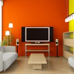 cheerful interior exterior painting for living room with white modern sofa and wooden coffee table and laminating floors plus storage and tv plus beautiful lstand ighting  pendant lamps