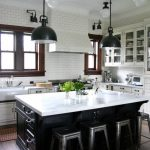 Classic Asian Nice Great Amazing Traditional Kitchen Earth Tone Paint Coloring With Dark Cabinet And White Coloring Deisgn With Some Pendant Lights