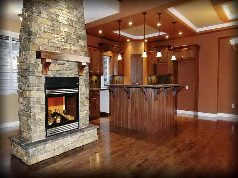 classic bamboo flooring kitchne design with stunning tall natural stone fire pit with rustic wooden accent aside wooden island design benetah small pendants