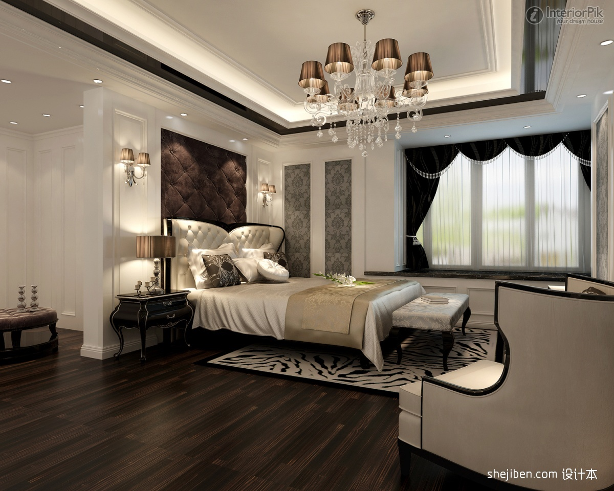 Classic Chandelier In Spacious Bedroom With Wooden Floor And White Bedding Set Tufted Freestanding Headboard