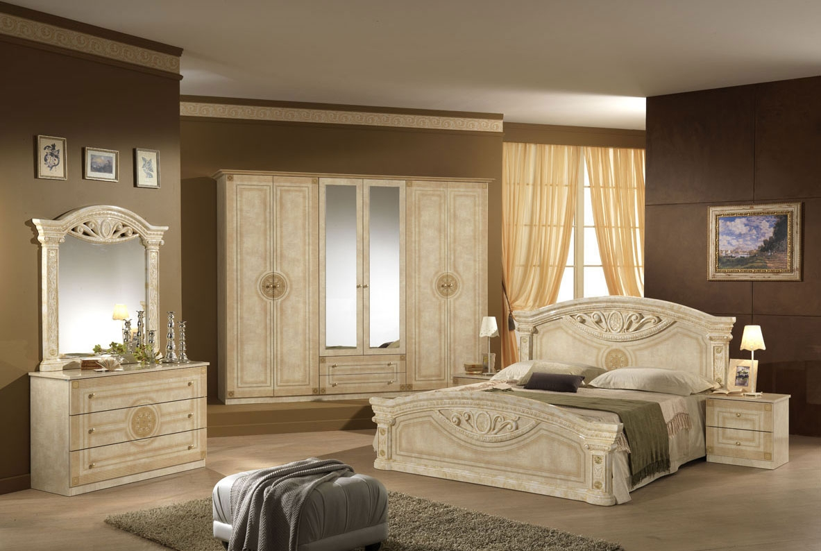 Classy Beige Bedroom Ideas With Luxury Bed And Wooden Night Stand Plus Make  Up Table With