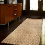 Cleaning Jute Rugs In The Hallways With Wooden Floor And Sideboard