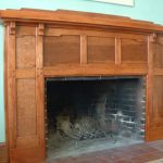 clear stained craftsman wood fireplace mantel
