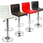 colorful bar stool design with leather material for seating and stainless pole for the beam and metal plate for the base with footrest