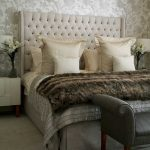 comfy grey headboard for luxurious king bed grey settee furniture with hands feature soft fury bed cover