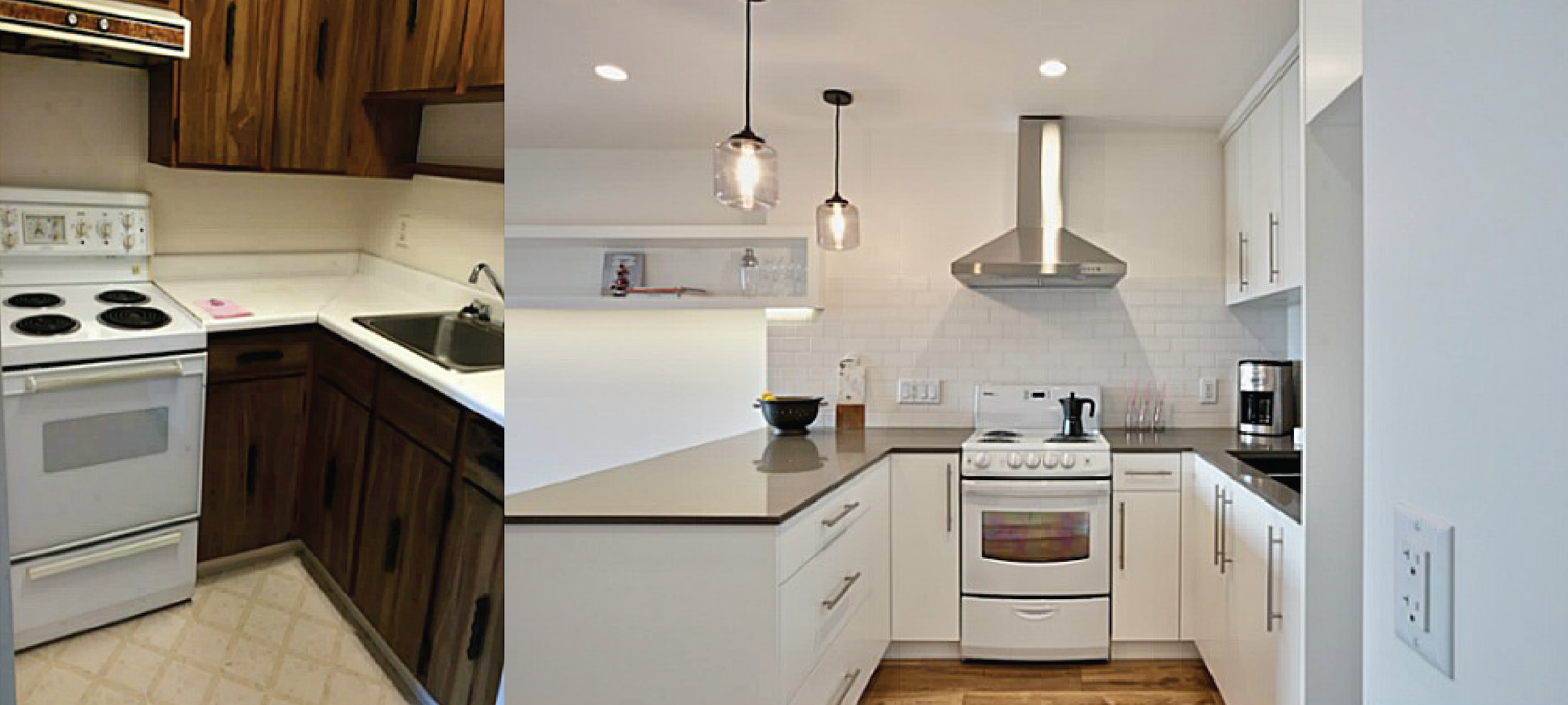 Small kitchen remodel before and after for stunning and for Small kitchen renovations