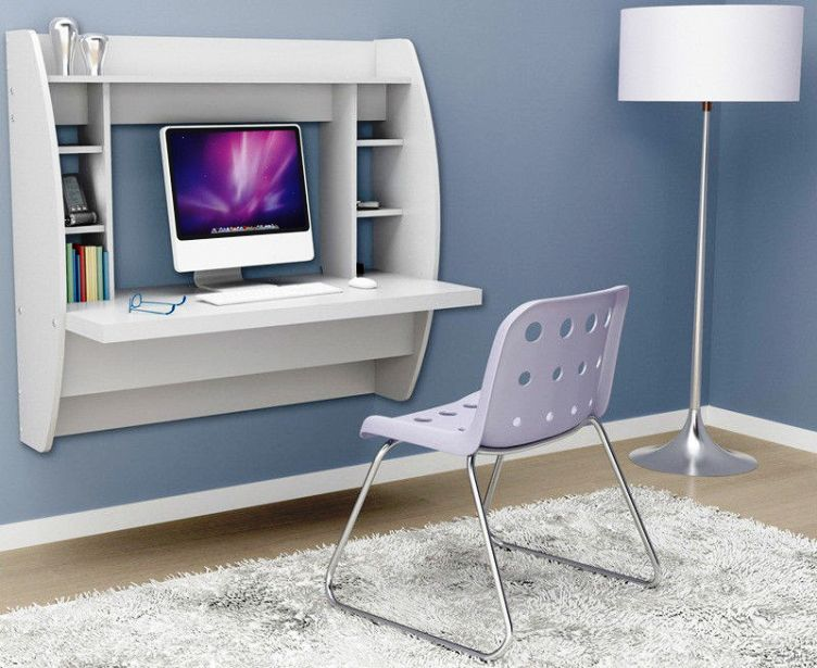 contemporary floating computer desk Ikea with left and right bookshelves in  white a cool white chair