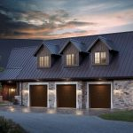 cool garage doors for three cars with solid wooden materials and brick stone wall combined with brick paver floor and wall scones