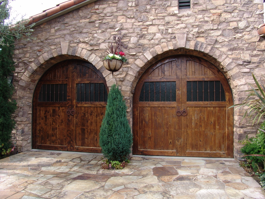 cool garage with solid wooden garage door with windows for double cars  combined with awesome natural - Cool Garage Doors That Will Grab Your Attention HomesFeed