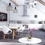 cool kitchen and dining room with black and white brick wall for interior plus white cabinets and chairs and wooden dining table with candles and pendant lamps