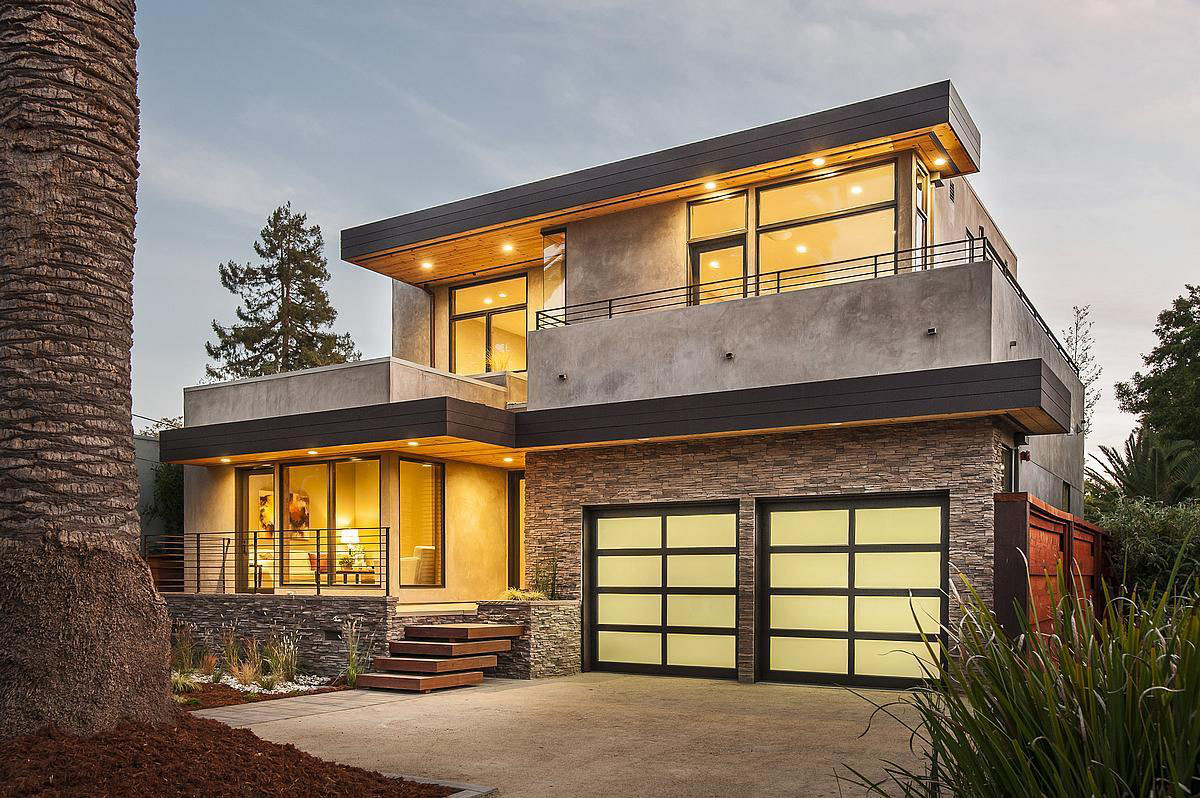 Cool Modern Garage Doors For Double Cars With Glass And Metal Panel Combined Stone