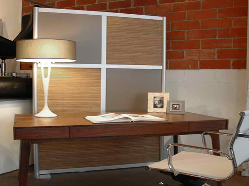 Cool Room Divider With Woodboard And Semi Glass Board Panels A Large Wood Table As Workstation  S
