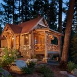 cool rustic cabin in the woods with front deck