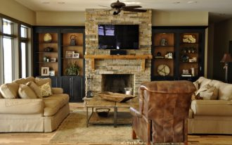 creative-cool-adorable-classic-built-in-cabinet-around-fireplace-with-old-brown-wooden-concept-design-with-wall-bricking-fireplace