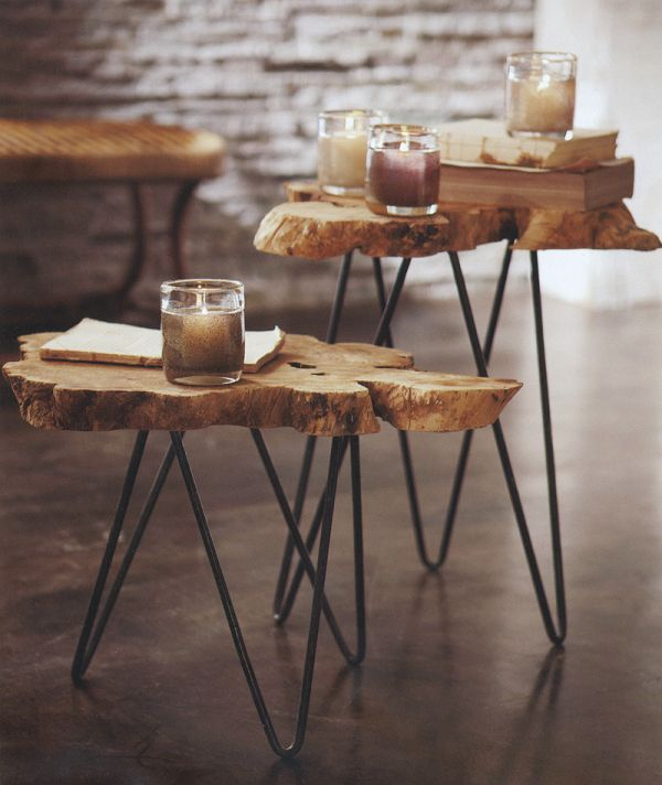 Creative Log Cut Hairpin Legs With Decorative Glasses As Candle Stand. Hairpin  Coffee Table With ...