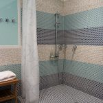 creative-nice-coolest-modern-typical-walk-in-shower-without-door-door-less-shower-with-penny-tiles-with-curain-as-cover