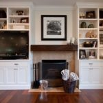 creative-simple-small-nice-built-in-cabinet-around-fireplace-with-compact-fireplace-and-white-bookshelf-design-with-tv-box