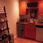 creative wine ladder rack mixed with one wall basement wet bar with glass door cooler