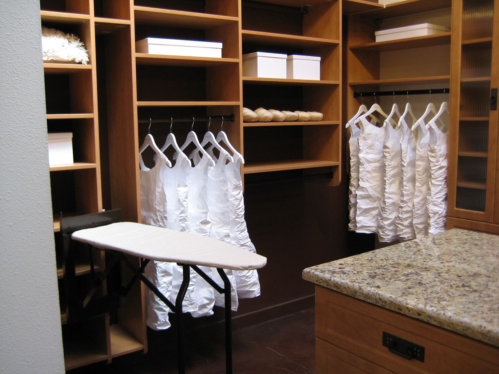 California closets las vegas - Custom Closets Nyc Califoria With Wardrobe And Shoe Boxes And Iron Board Plus Table