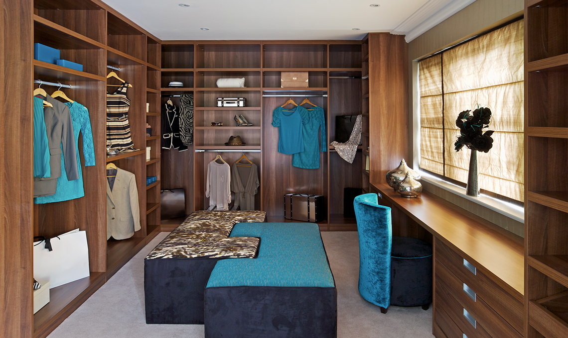 Custom Closets Nyc With Wood Material For Wardrobe Plus Briefcase And Sofa  Stool At The Center